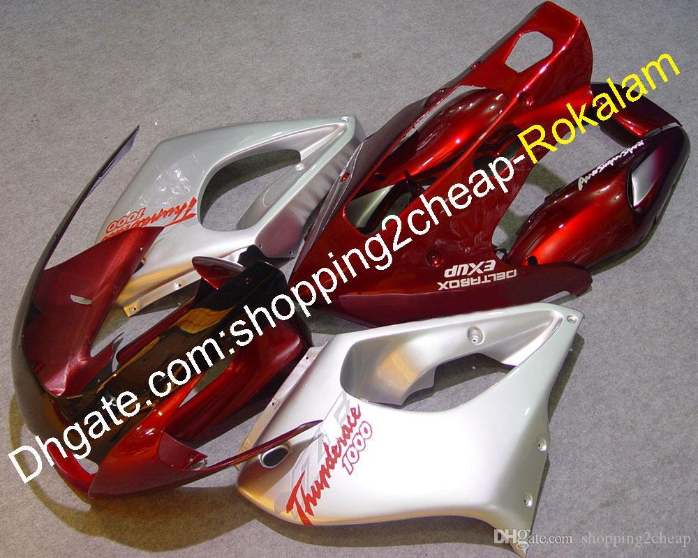 Kit de carrocería de motocicleta para Yamaha Thunderace YZF1000 YZF1000R 1997-1998 1999 2000 2001 2002 2003 2004 2006 2006 2007 2007 Rojo Plata carenado