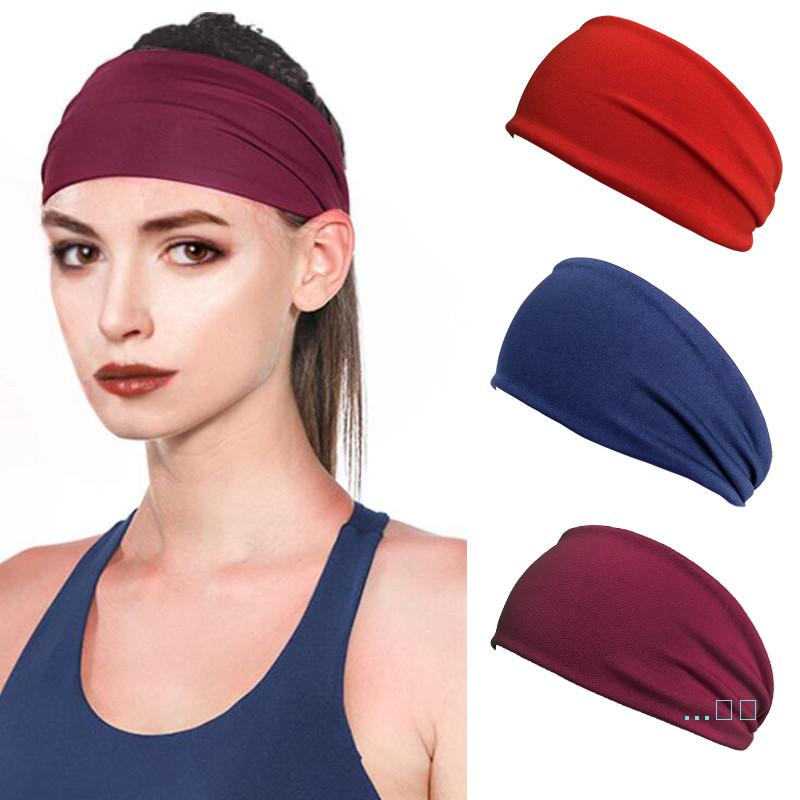 Women Men Elastic Headbands Solid Color Sports Yoga Sweat Hairband Head Hair Wraps Workout Cycling Running Scarf for SUmmer 16 Colors