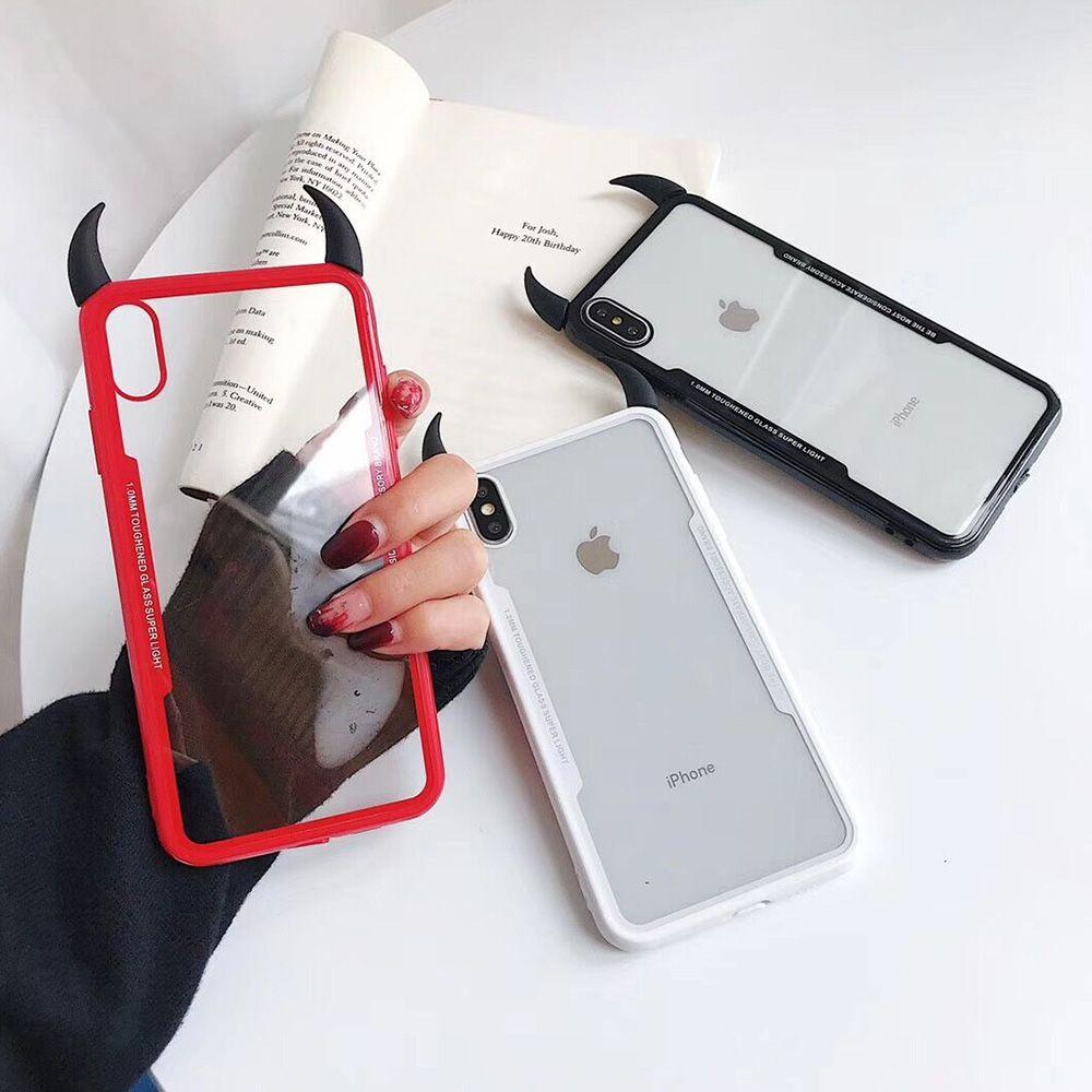Corne Du Diable Cas Transparents Pour IPhone XS Max XR XS X 6 6S 7 8 Plus PC TPU Full Body Acrylique Téléphone Couverture Arrière Coque Cadeaux ...