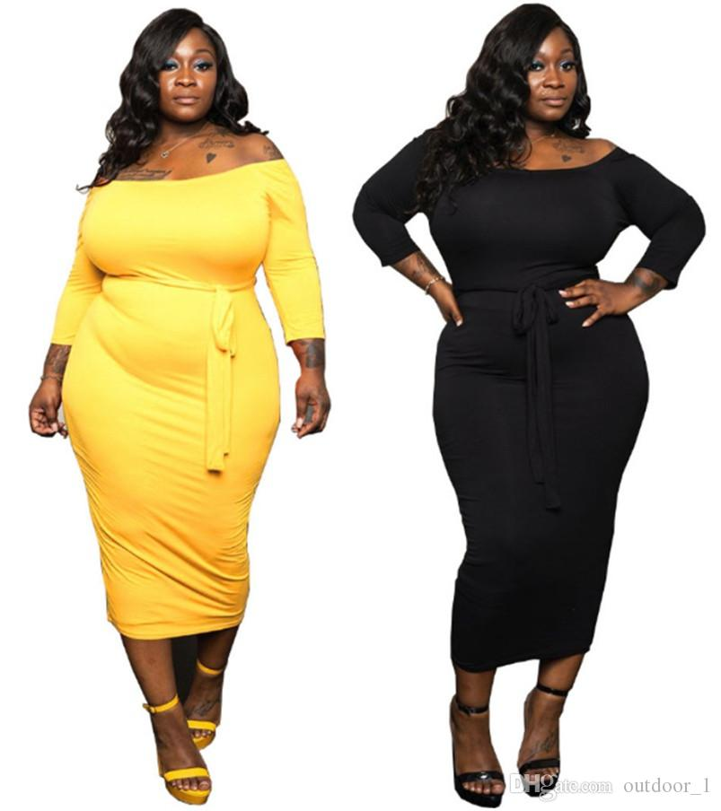 Women sexy midi plus size dresses off shoulder bandage slim plain XL-5XL dresses fall winter casual clothing solid color pullover DHL 2516