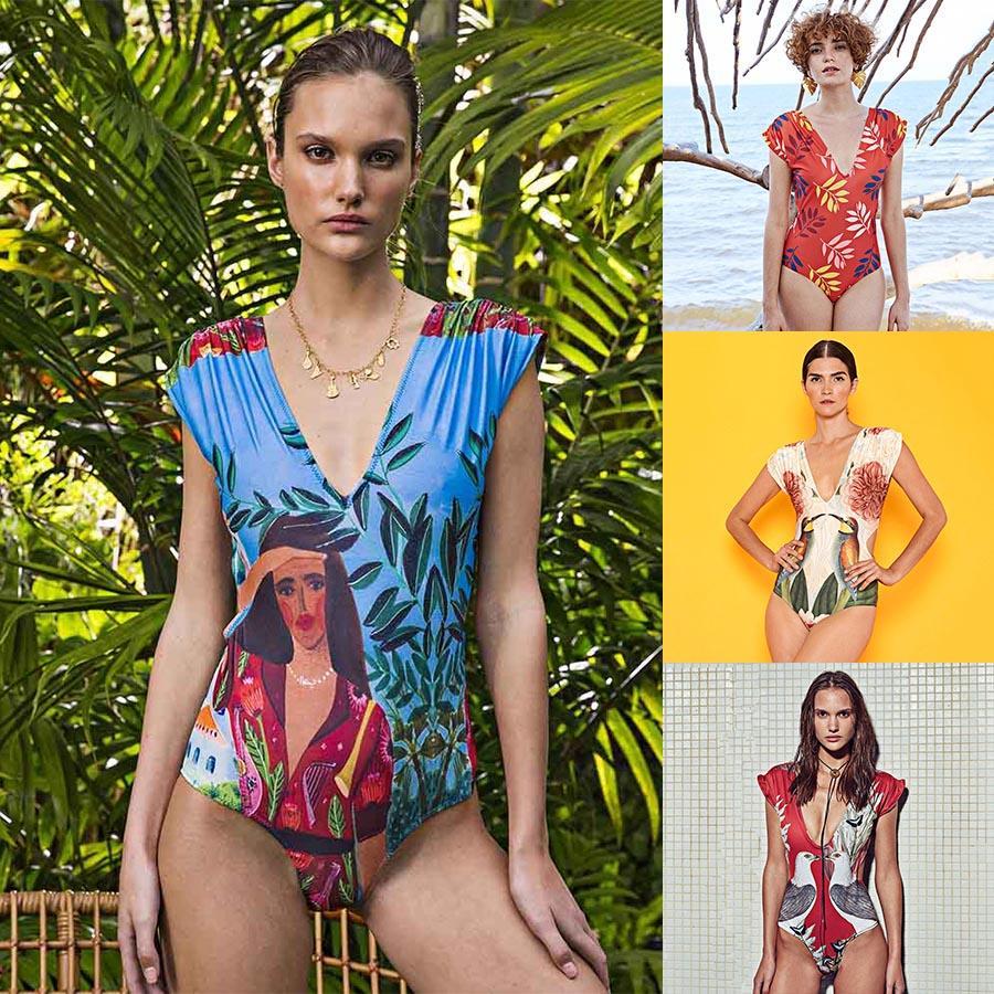 Damen-Badeanzug mit V-Ausschnitt One Piece Bademode Weibliche mit Blumenmustern Badespielanzug Anzug Damen Mayo Bademode Badeanzug One-Piece Jumpsuits
