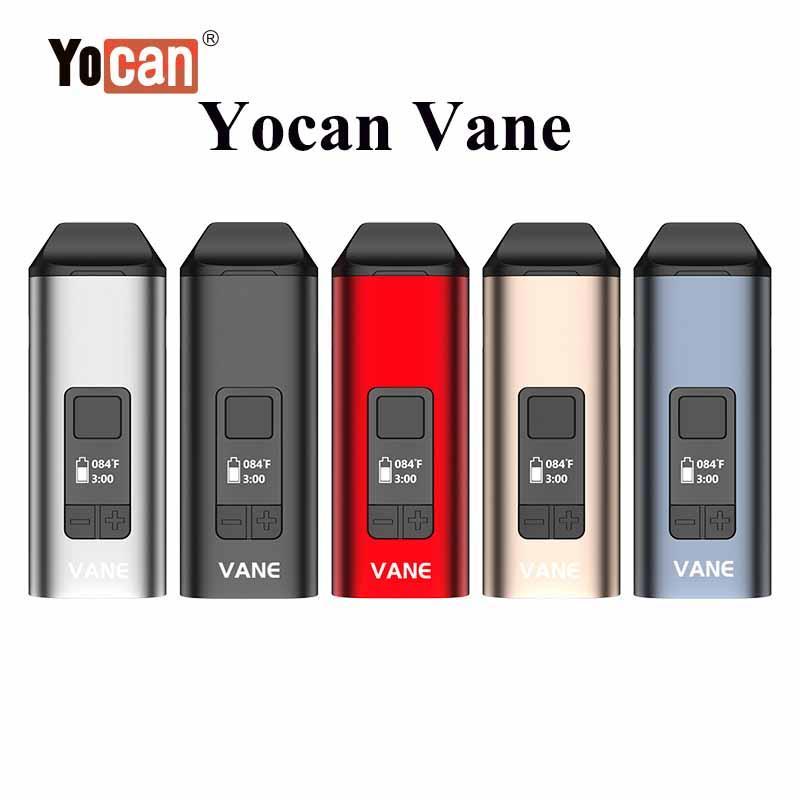 100% Original Yocan Vane Main Kit Dry Herb Förångare Levereras med 1100mAh Batteri Keramisk Uppvärmningskammare Oled Display Design