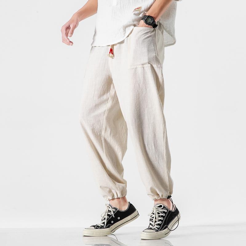 Section 5XL en vrac Thin Plus Size Pantalons Mode pour hommes Casual Cotton Linen Straight Pants Retro Vêtements Y2847