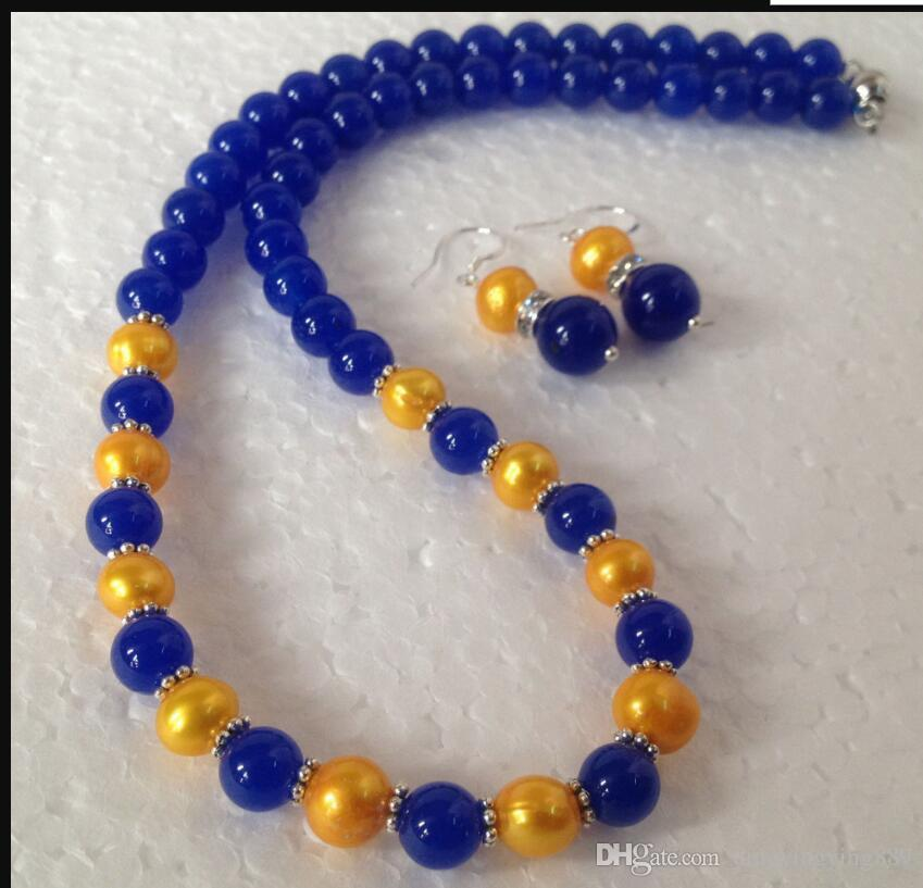 jewelry Fast +Genuine Golden Akoya Cultured Pearl/Blue Jade Beads necklace earrings Set /A106