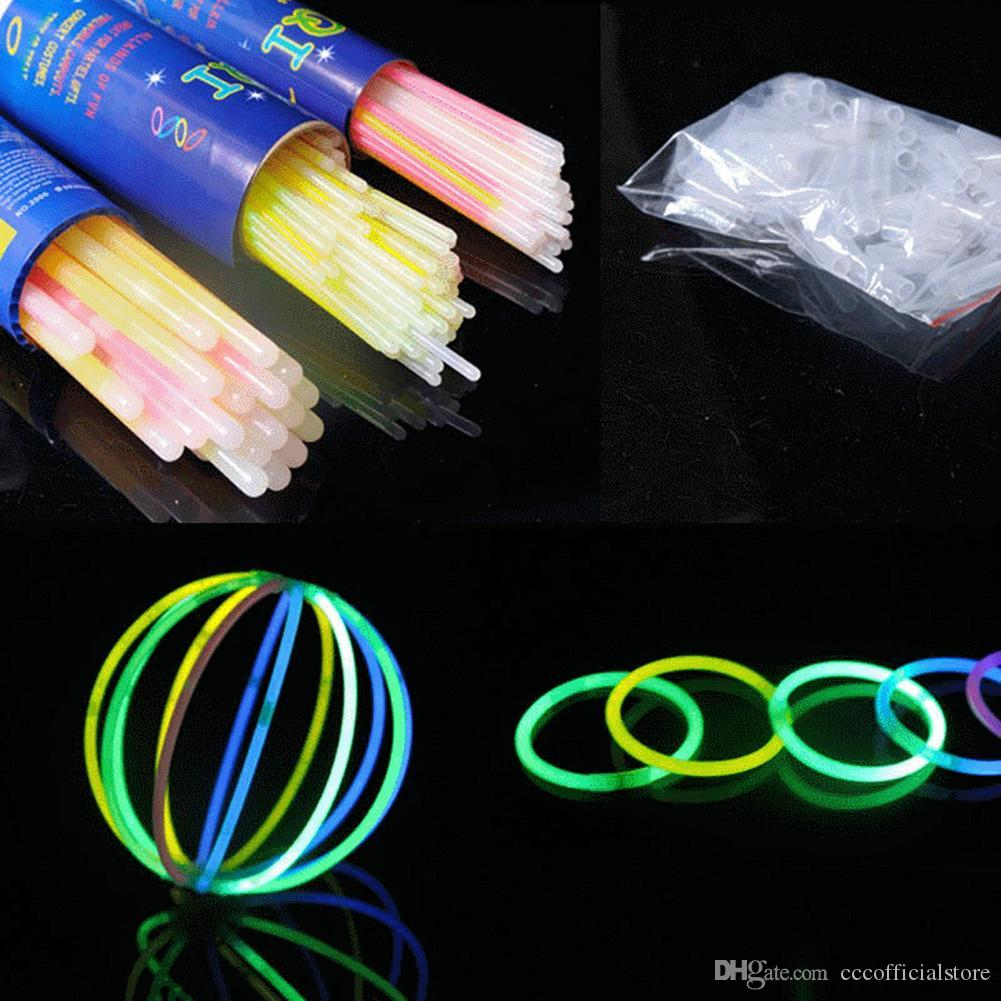 100Pcs Colorful Luminous Glow Sticks Glowsticks DIY Bracelet Necklace Party Props Ideal for party/ concert props night running