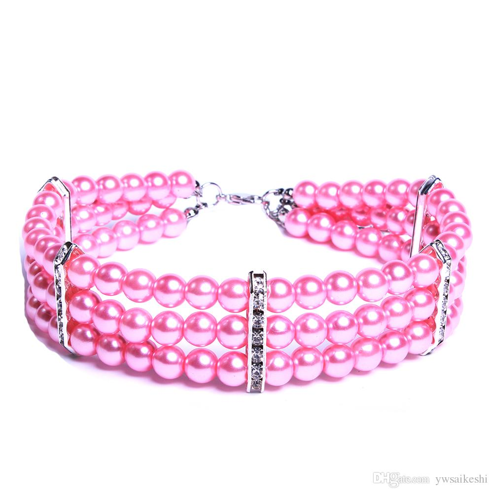 3 Rows Dog cat Pearls Necklace Collar Bling Accessories Charm Pet Puppy Neck Jewelry 3 sizes 2 colours