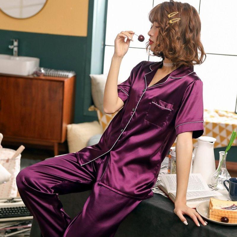 FallSweet Bayan Pijama Takımı Seksi İpek Saten Yaka Gecelik pijamalar Kısa Kollu Artı boyutu CX200703 Turn-down