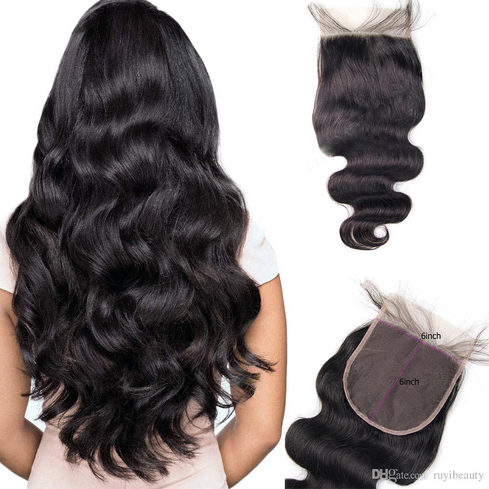 Malaisienne Vierge Cheveux 6X6 Dentelle Fermeture vague de corps Extensions de cheveux Haut Fermeture dentelle suisse Couleur naturelle 8-20inch 6 * 6
