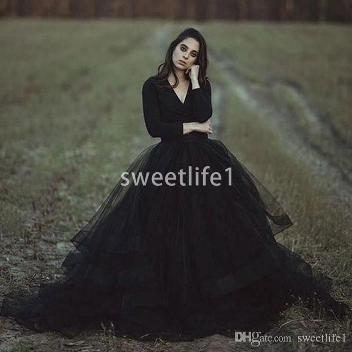 2019 Black V Neck Wedding Dresses Long Sleeve A Line Sweep Train Tulle Ruffles Tiered Skirts Gothic Wedding Bridal Gown