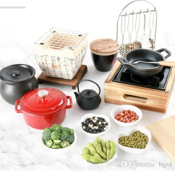 Mini-Küche Kochen Echt Kochset Gusseisen Barbecue Herd Teppanyaki BBQ GRIH Japanisches Essen Spielen Mini Geschirr Kochen Küchenutensilien