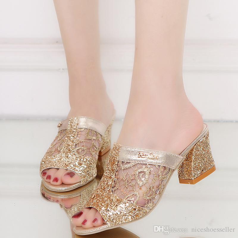 Moda gruesa zapatos de tacón alto zapatillas lentejuelas Sexy Peep Toe ahueca hacia fuera las sandalias del partido zapatos de mujer resbalón de verano en ADF-4714