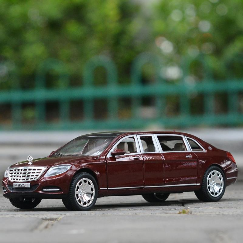 1:24 Diecast For TheBenz Maybach S600 Extended Elegant Limousine Limo Sedan Metal Car Model Collection 6 Doors Open Toys Vehicle