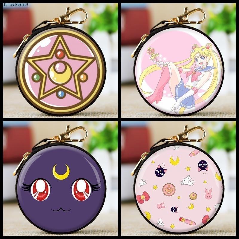 Mini Anime Action Figure Sailor Moon Étain Imprimé Rond Fermeture Éclair Luna Chat Sexy Filles Kawaii Enfants Belle Écouteur Sac Porte-Monnaie Jouet C19011501