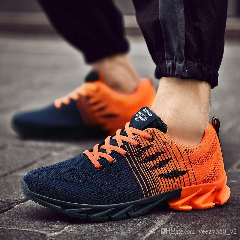 Venta caliente de los hombres de moda los zapatos de malla transpirable zapatillas de deporte de hombres caminando calzado cómodo de los nuevos zapatos para correr livianos C-200301065