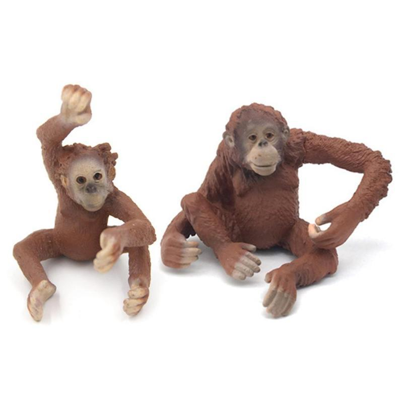 Mini PVC Simulation statique Orangutan animal sauvage modèle solide Toy Crafts
