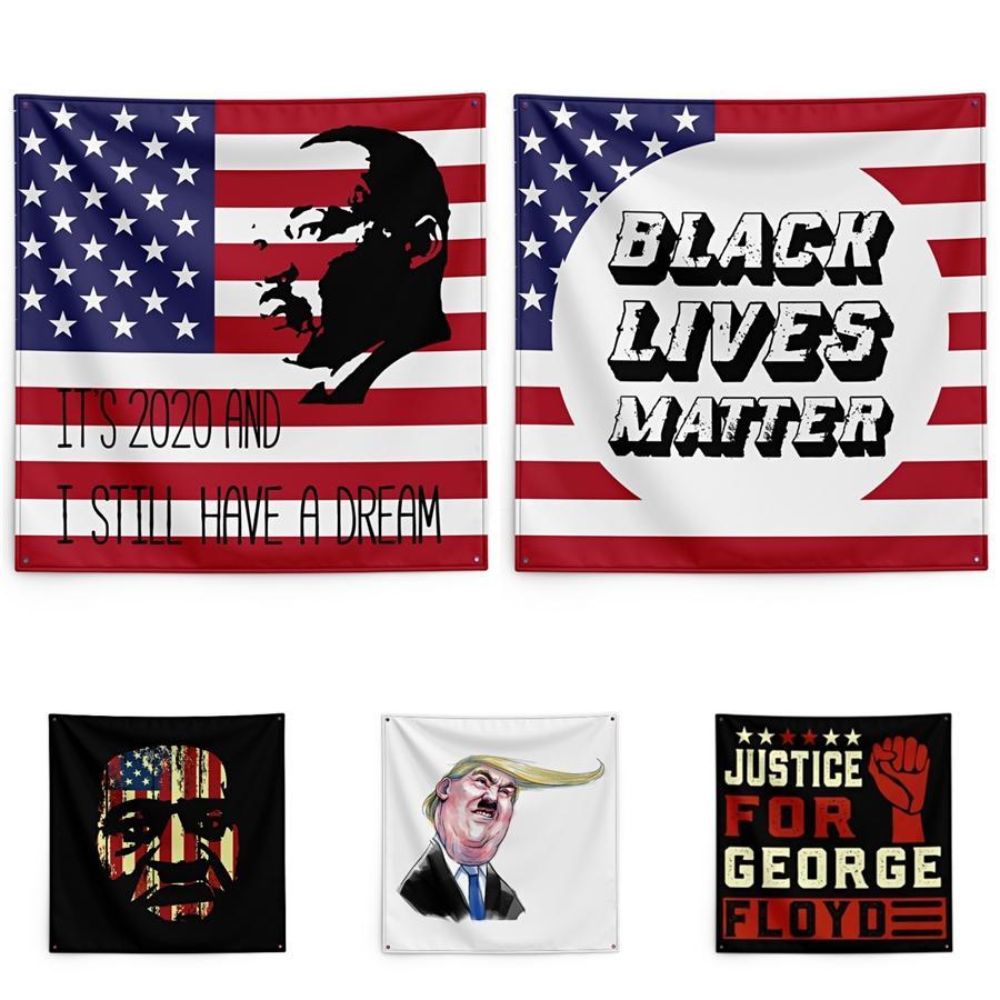 Adalet İçin George Floyd Baskı Goblen Siyah Hayatlar Matter Ev Duvar Banner 150 * 150 cm # QA14397