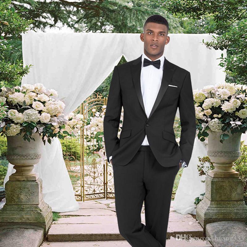 Yeni Slim Fit Siyah Düğün Damat Smokin 2 Parça Suits (ceket + Pantolon) Damat Erkek Takım Elbise Resmi Balo Aşınma Blazer 286