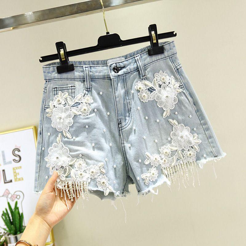 Light Blue Jean Shorts Women Summer New Fashion Heavy Industry Beaded Lace High Waist Denim Shorts Burr Loose Wide Leg Hot Pants