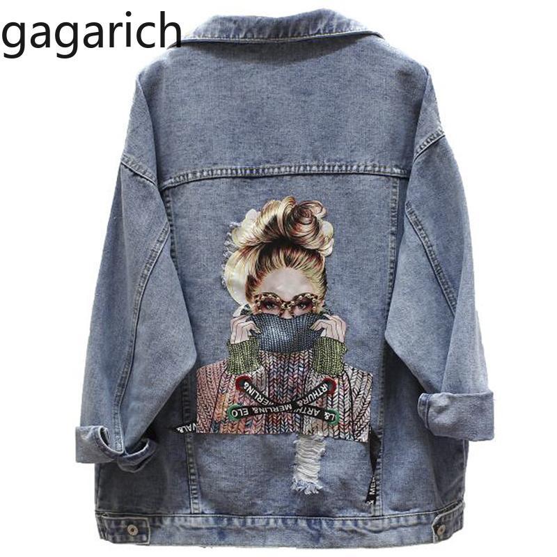 Gagarich 2019 BF Sonbahar Harajuku Baskılı Yıpranmış Boncuk Denim Ceket Gevşek Casual Jeans Ceket Kadın Coat Dış Giyim Kadın Ceket V191025