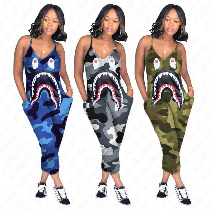 Женщины Конструктор Camo Цвет Подтяжка Комбинезон акула рот печать цельных штаны мода Sexy V-образный вырез Ромперы Тонких обрезанные брюки D52705