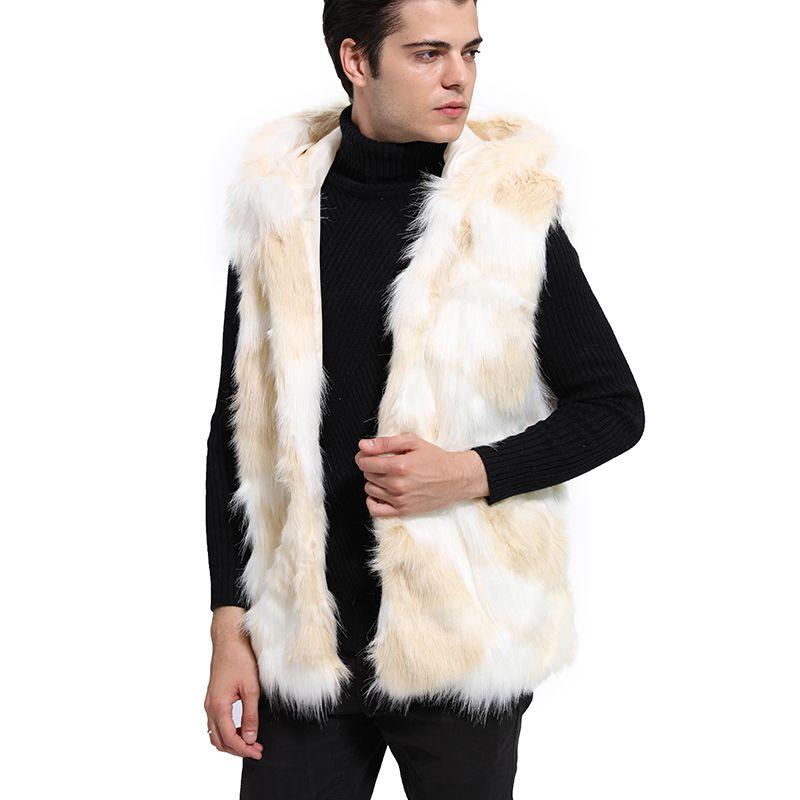 Homme Automne Hiver Jaune Blanc en fausse fourrure à capuchon Veste à double boutonnage O-Neck manches Casual Slim hommes T-shirts Plus Size 3 fois 6Q2307