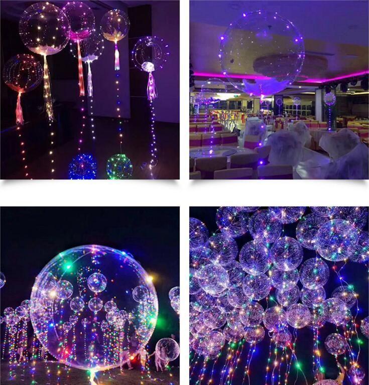 Bords lisses LED Ballon lumineux latex Ballons fête de mariage d'anniversaire Salle décoration Jouets pour les enfants avec 70cm Memory Stick 2018