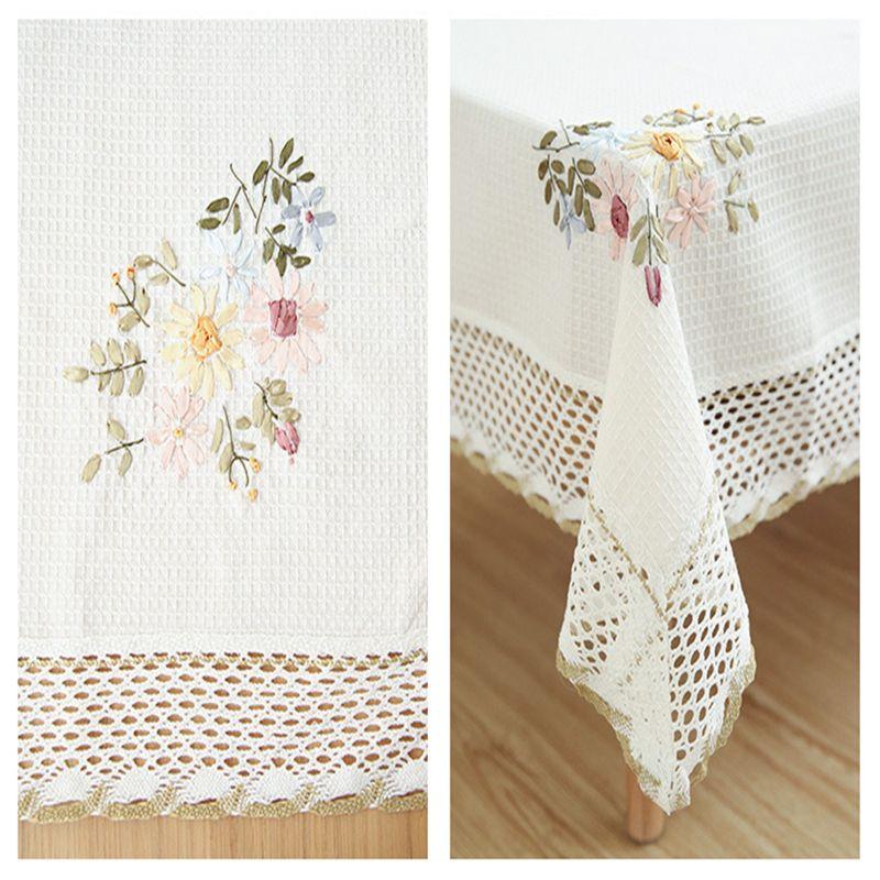 Withme sur la table Nappe Tissu Blanc Nappe rectangulaire sur la table Tissu dentelle blanche en lin brodé Nappes