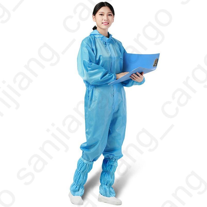 Защитный костюм Мужчины Женщины цельная защитная одежда с капюшоном пылезащитная мастерская чистая одежда многоразовая антистатическая одежда плюс размер D31602