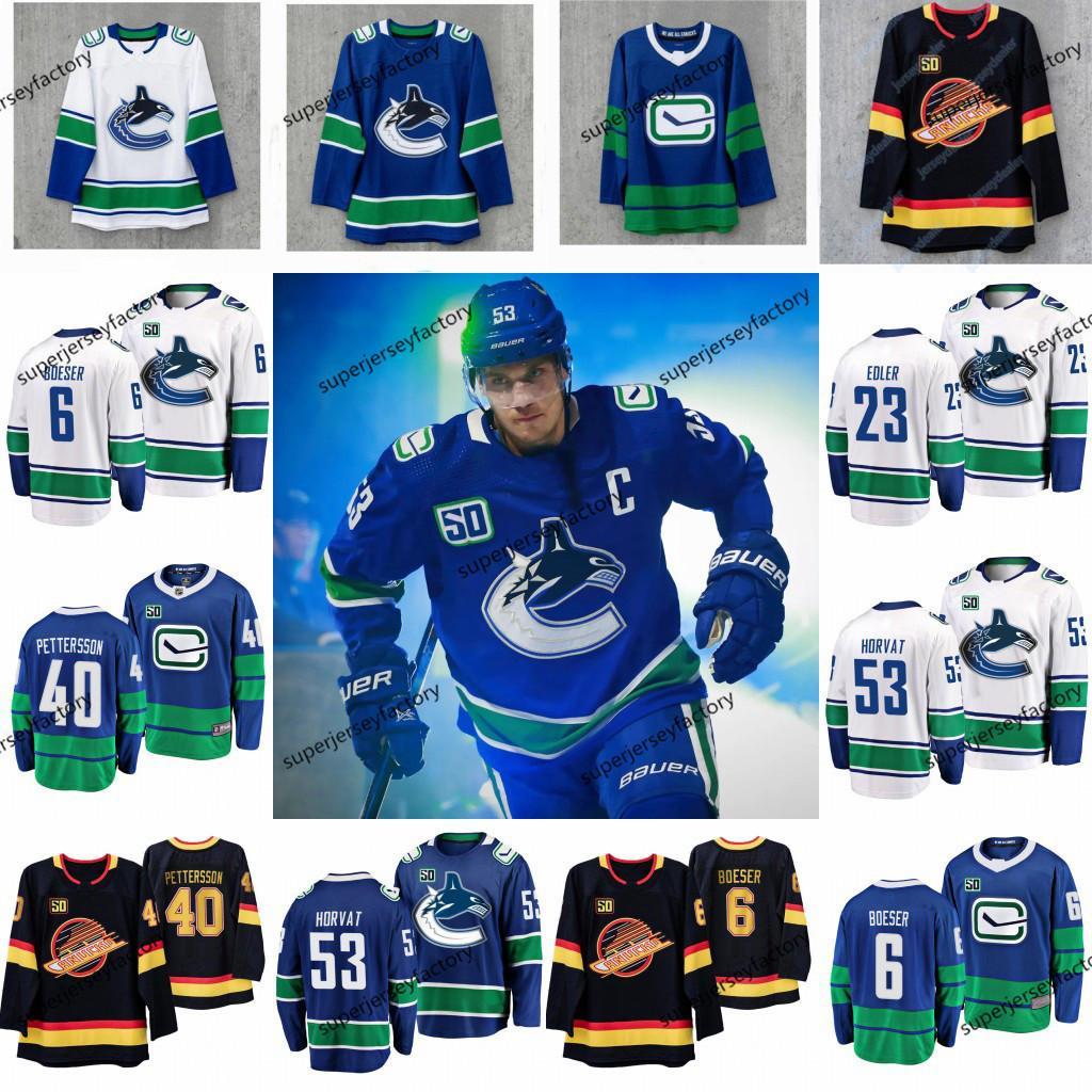 53 Bo Horvat Kaptan Vancouver Canucks 50 Seasons forması Quinn Hughes Brock Boeser Elias Pettersson Jacob Markstro Antoine Roussel