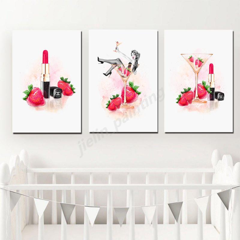 Estilo del lápiz labial nórdica abstracta de la mujer y la impresión del cartel minimalista pared del arte de la lona de la pintura de paisaje del hogar del cuadro de la decoración