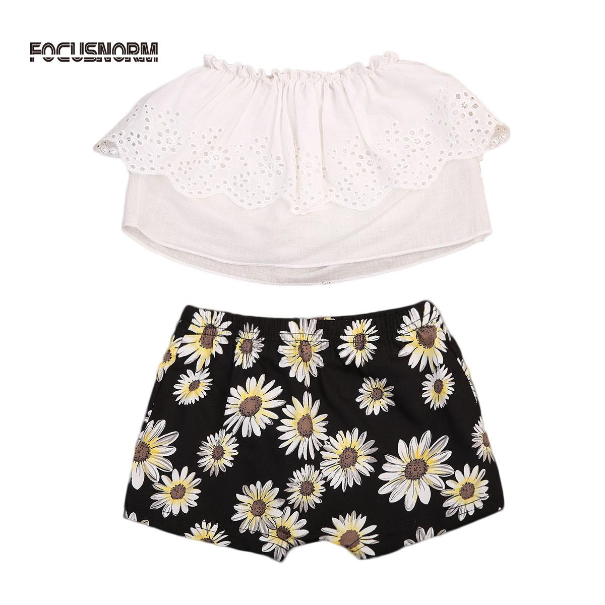 New Cute Newborn Baby Girl Clothes Cotton Off Shoulder Top T Shirt Sunflower Shorts Outfits Clothes Hot