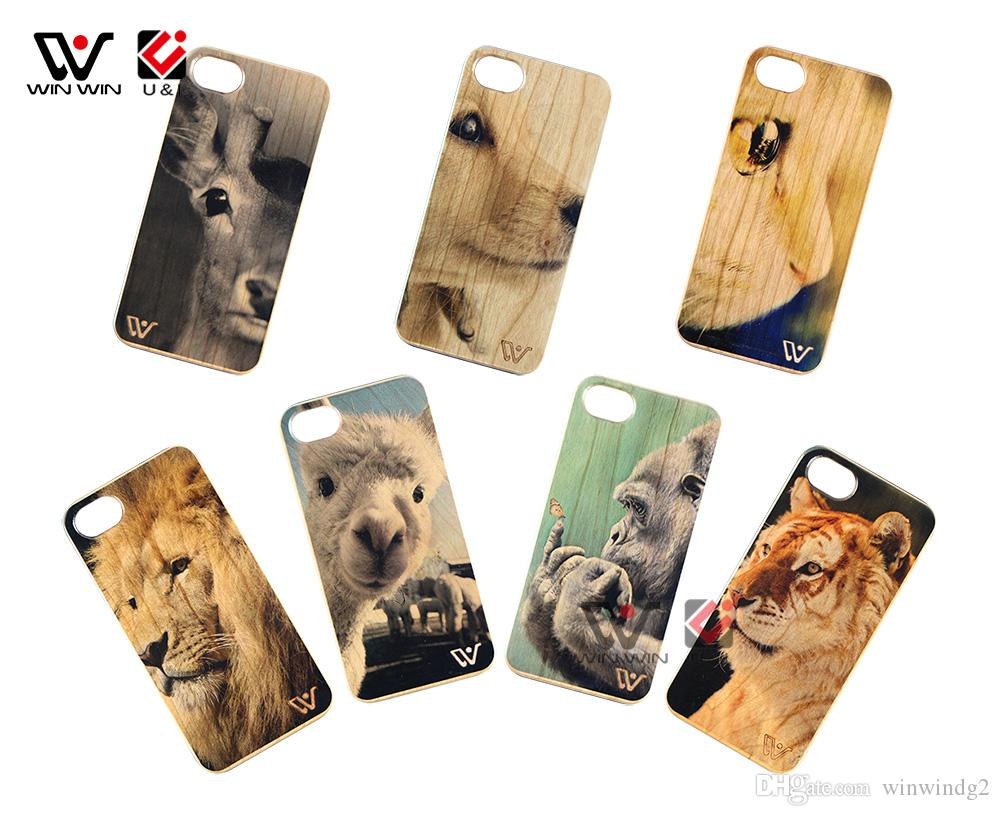 Online Shopping Free Shipping Printing Animals Designs Wood Mobile Cell Phone Cover Case For iPhone 6 7 8 Plus X XR XS Max