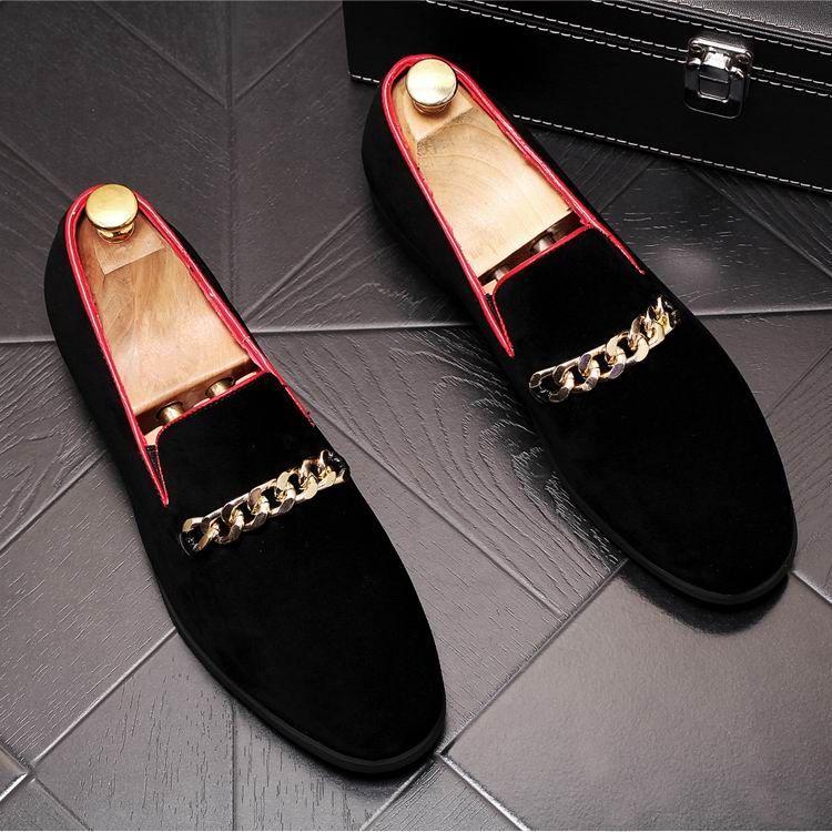 Los nuevos hombres confort casual zapatos Negro Tendencias punta redonda resbalón en los zapatos del holgazán hombre Cadenas Zapatos encanto Barco Ocio 38-43