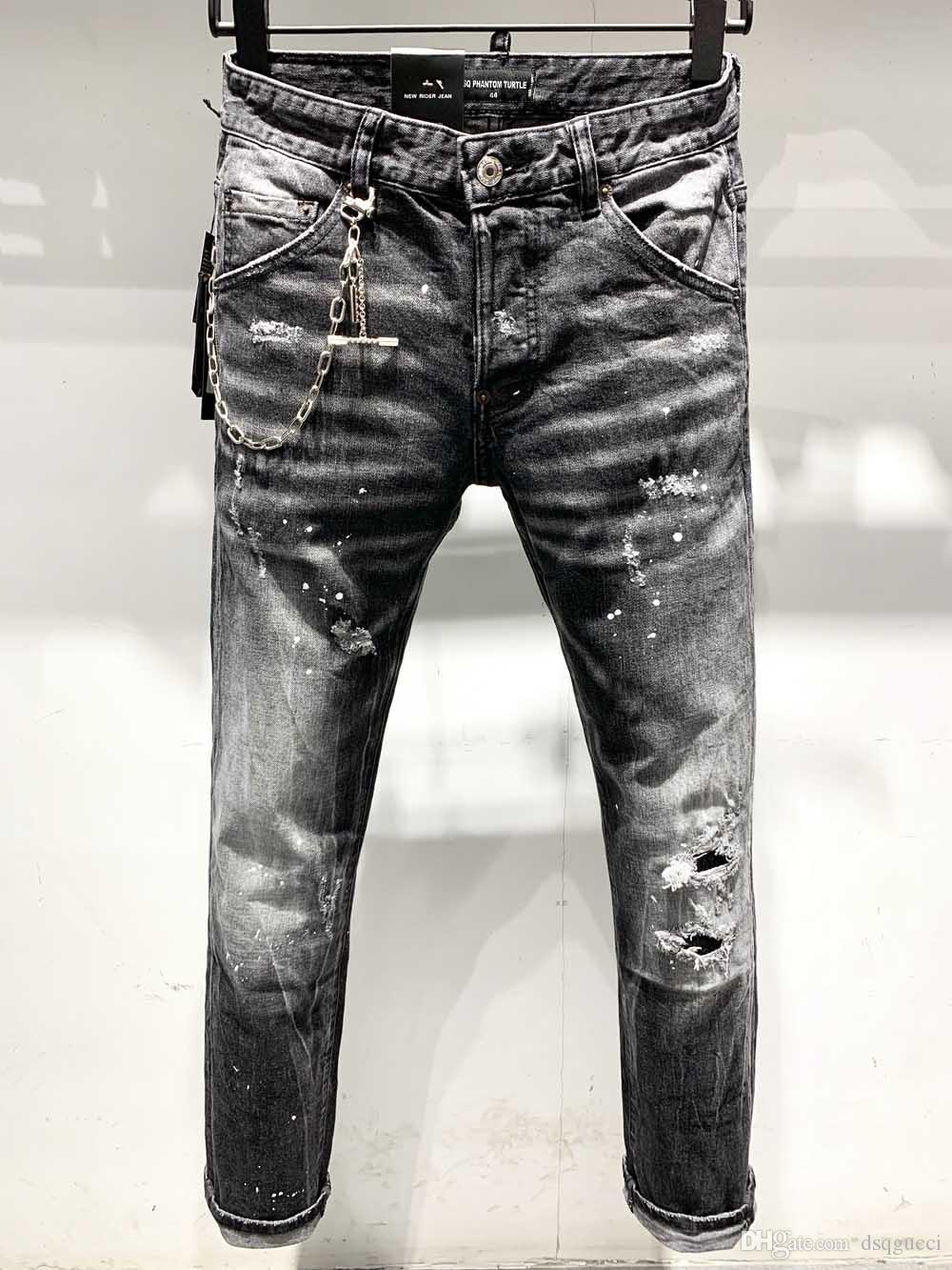 DSQ Phantom Tortue Classic Fashion Homme Jeans Hip Hop Rock Moto Mens Décontracté Design Décontracté Jeans Détonés Skinny Denim Biker DSQ Jeans 6917