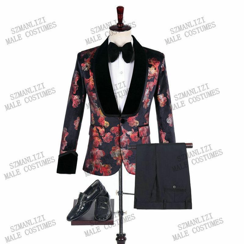2020 Marque Groomsmen Tuxedo Black Velvet Châle Slim Hommes Costumes Lapel Homme Mariage de mariage meilleur homme Blazer Prom mariage Set Suit