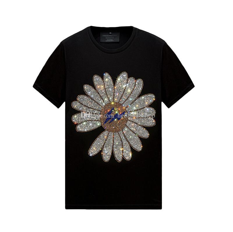 Yaz Retro Erkek Tops Tasarımcı Rhinestone T-Shirt Kısa Kollu Ince Ekip Boyun Casual Gömlek Tee Merserize Pamuk, S-6XL