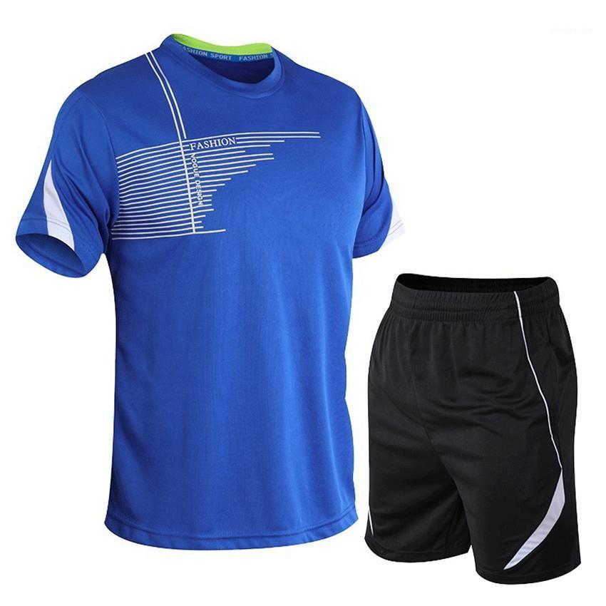 Homme Tracksuits Moda Hızlı Kurutma Nefes Erkek Suit Yaz Erkek Spor eşofman Casual tişörtleri Şort 2adet