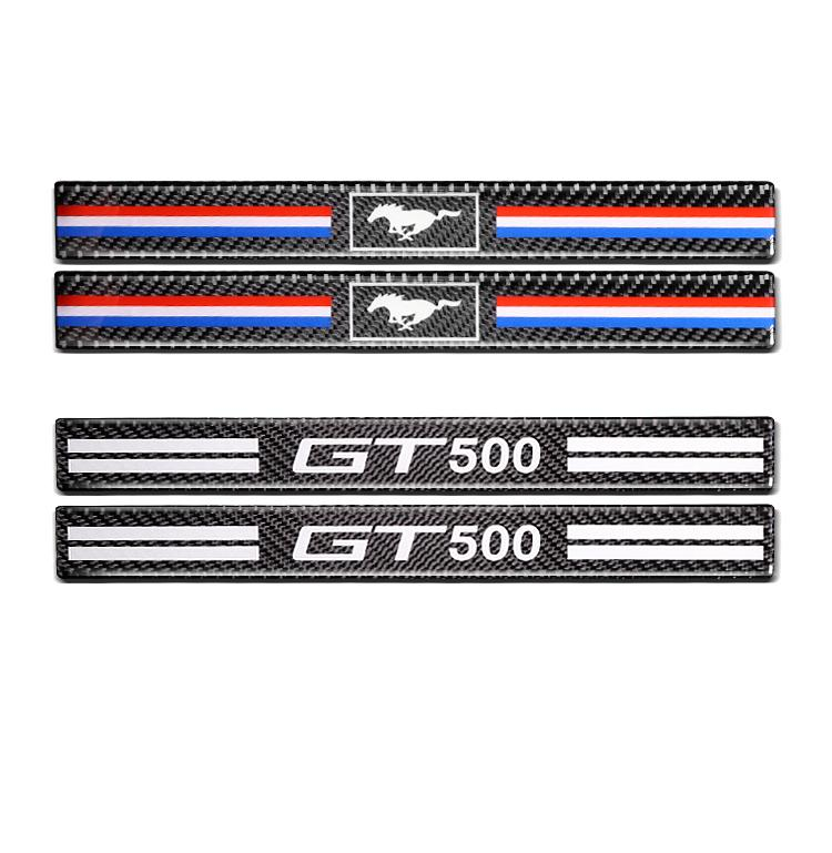 2015-2019 год Форд Мустанг GT500 на пони лошадь углеродного волокна дверь подоконник потертости тарелка Гвардейская подоконник протектор двери автомобиля наклейки и отличительные знаки
