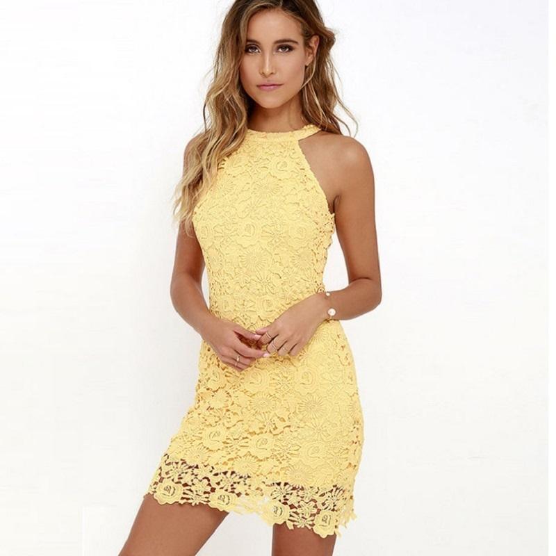 2018 vestido atractivo del cordón del partido del club de primavera y verano elegante de la boda para las mujeres tamaño más vestidos de señora amarillo ajustado de cabestro vestido corto