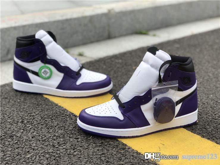 Первые аутентичные 1 Высокий О. Г. суд фиолетовый баскетбол обувь мужчин суд фиолетовый спортивный кроссовки 555088-500 с коробкой