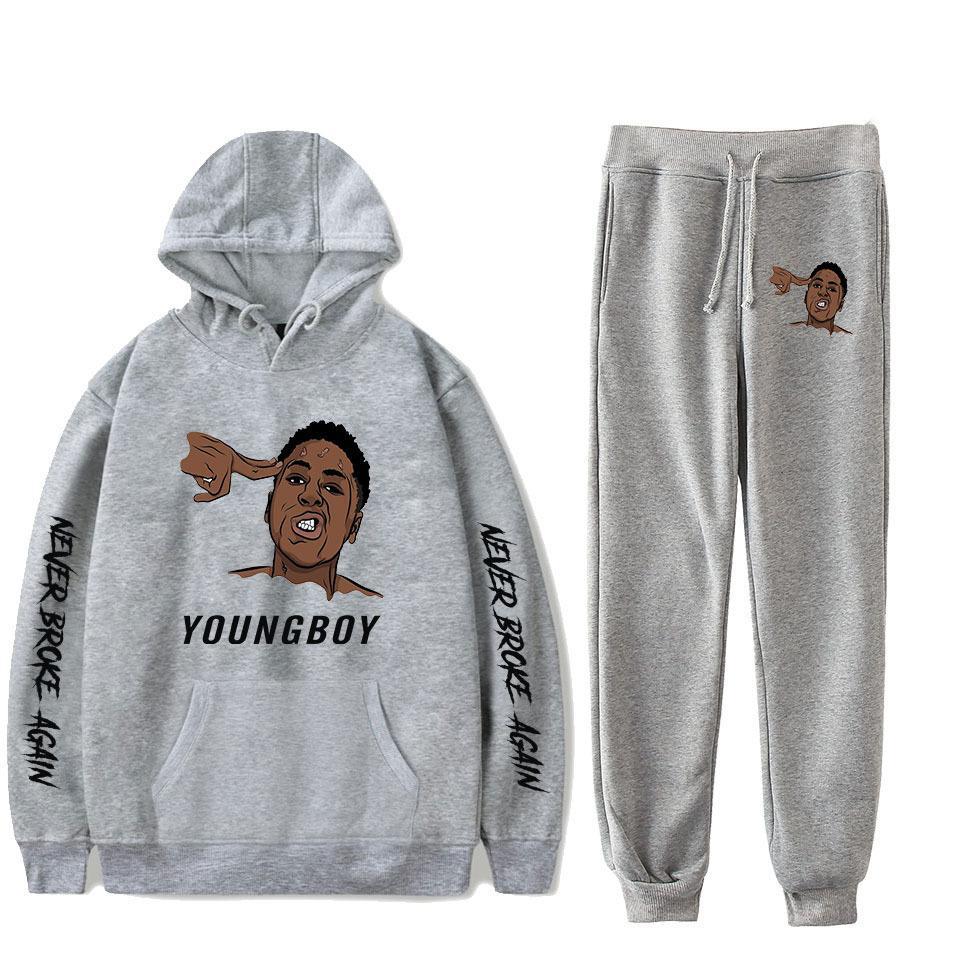Hot Youngboy Jamais Encore à la mode à manches longues Pull à capuche 2Pcs femmes / Pantalons hommes Survêtement à capuche conviennent sport Hip hop MX200611