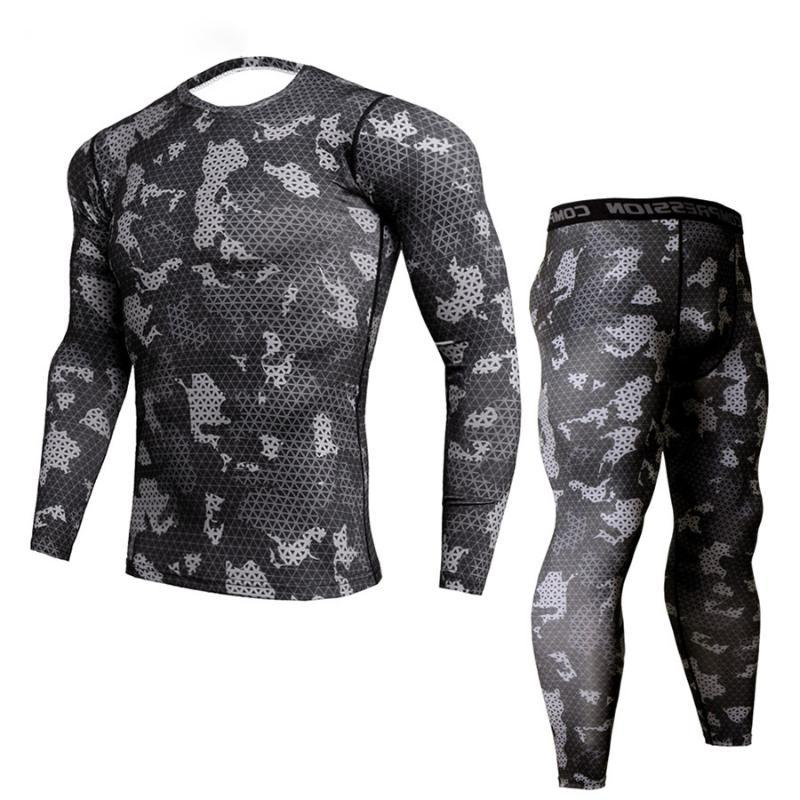 New Fitness Camo T Shirt Men Compression Shirt 2Pcs/sets Sportswear MMA Rashguard Mens Joggers Leggings Gyms Bodybuilding Tights