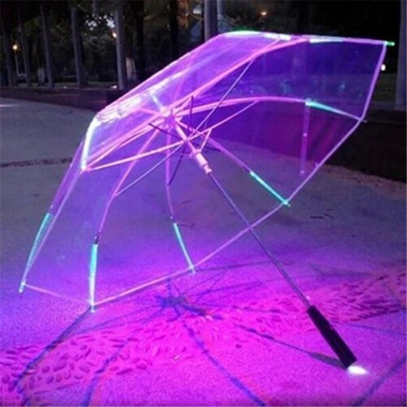 Características interesantes Paraguas con LED 8 costilla de luz transparente con mango