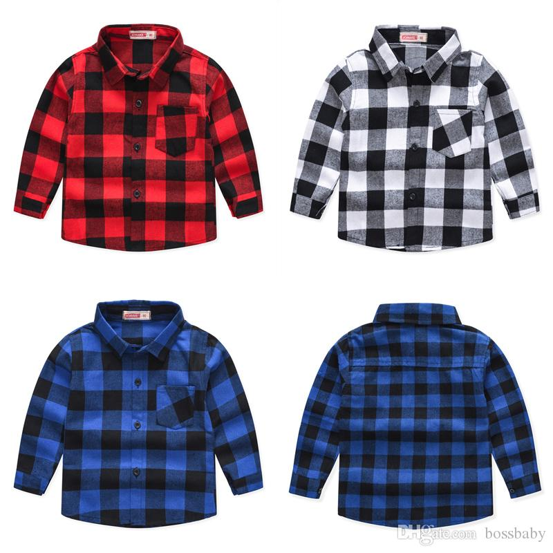 Kids Boys Plaid Shirts Toddler Baby Classic Cotton Long Sleeve Tops Kids Casual Clothes Boy Casual Wear Teens Leisure Outfits 06