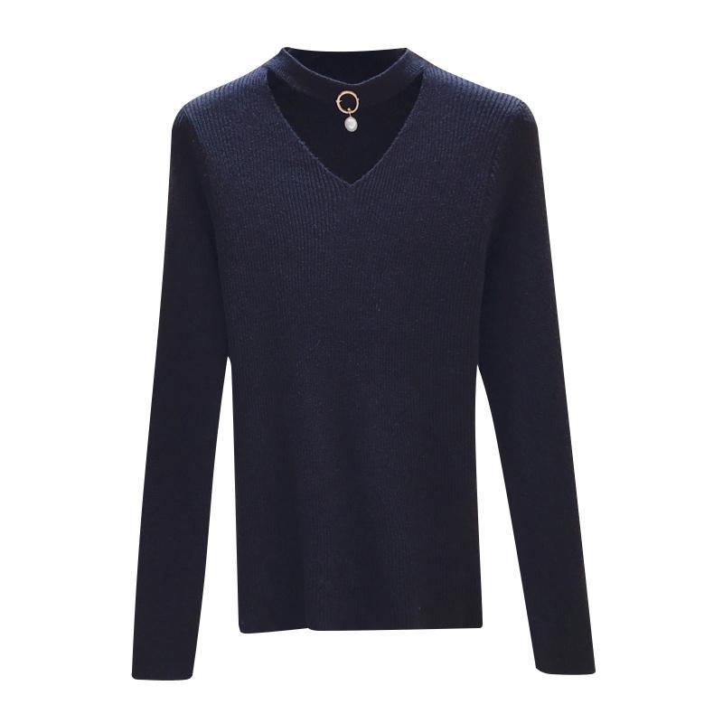 2019 свитер женщины пуловер вязаный с длинным рукавом Сексуальная V-образным вырезом женщины свитера топ осень зима мягкая эластичность тянуть Femme черный