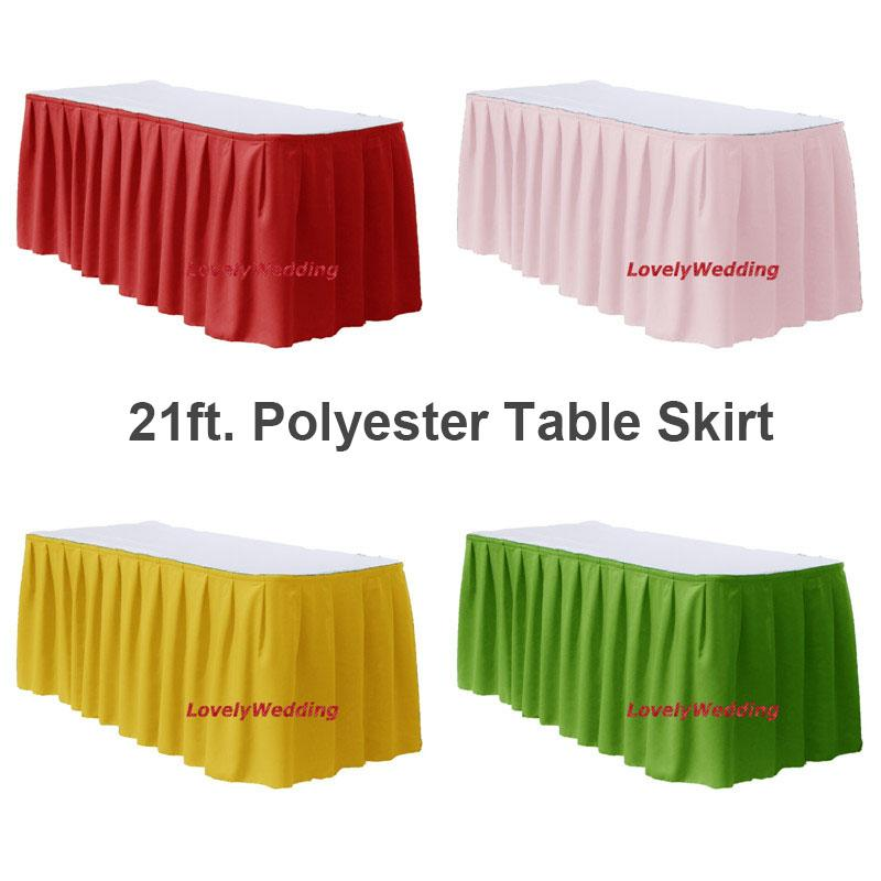 100% polyester wedding table skirt/21ft table skirt for wedding party banquet tableclothes lines decoration