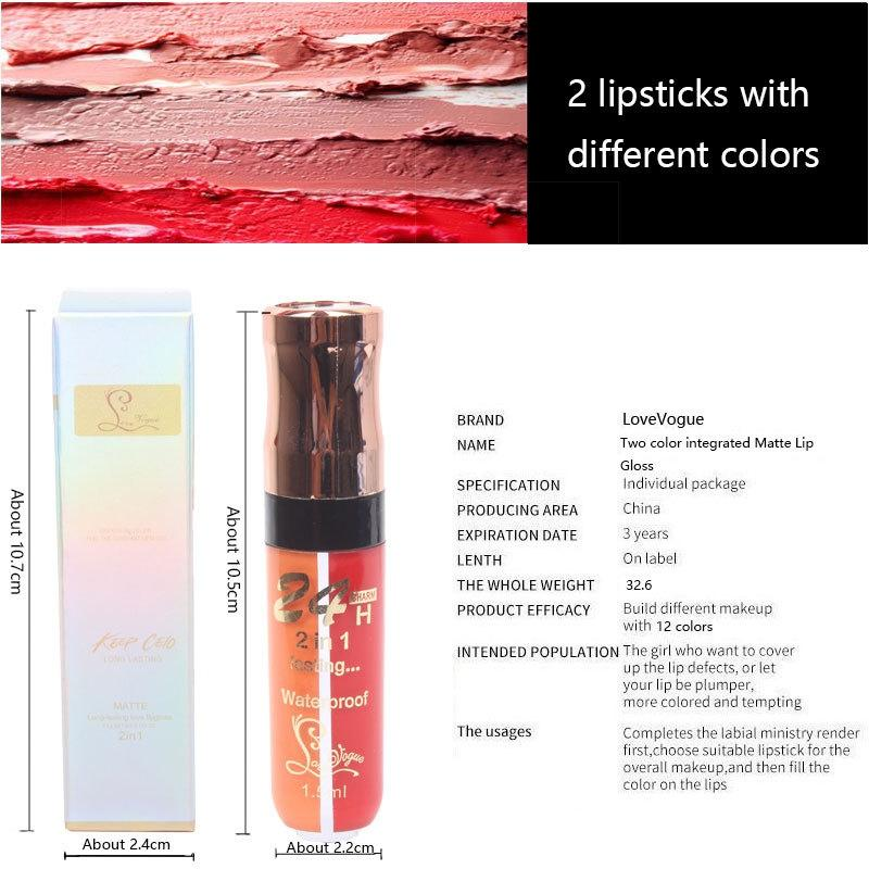 Two-color Matt Non-stick Cup Lip Gloss Two-in-One Mouth Shiny Easy To Color Lip Glaze Lipstick Natural Beauty Makeup Cosmetic