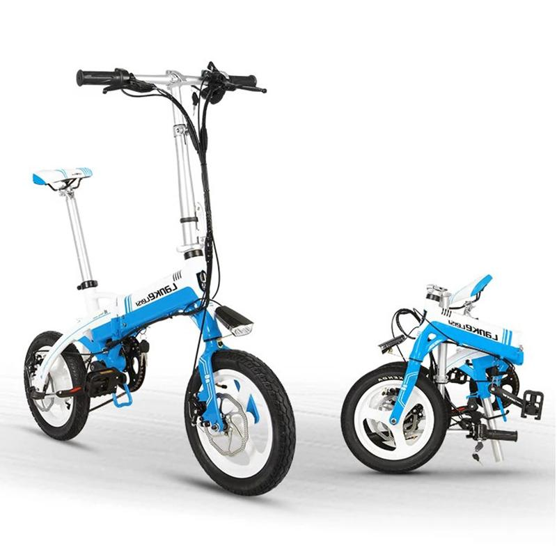 A6 14 Inch Folding Electric Bicycle Lithium Battery Electric Bike with LED Light For Men Women& Kids 240W Motor