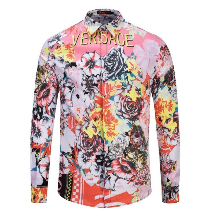 Camicie da uomo L'ultimo designer di marca di fascia alta al mondo disegna camicie da uomo a maniche lunghe stampate in 3D new4386 #