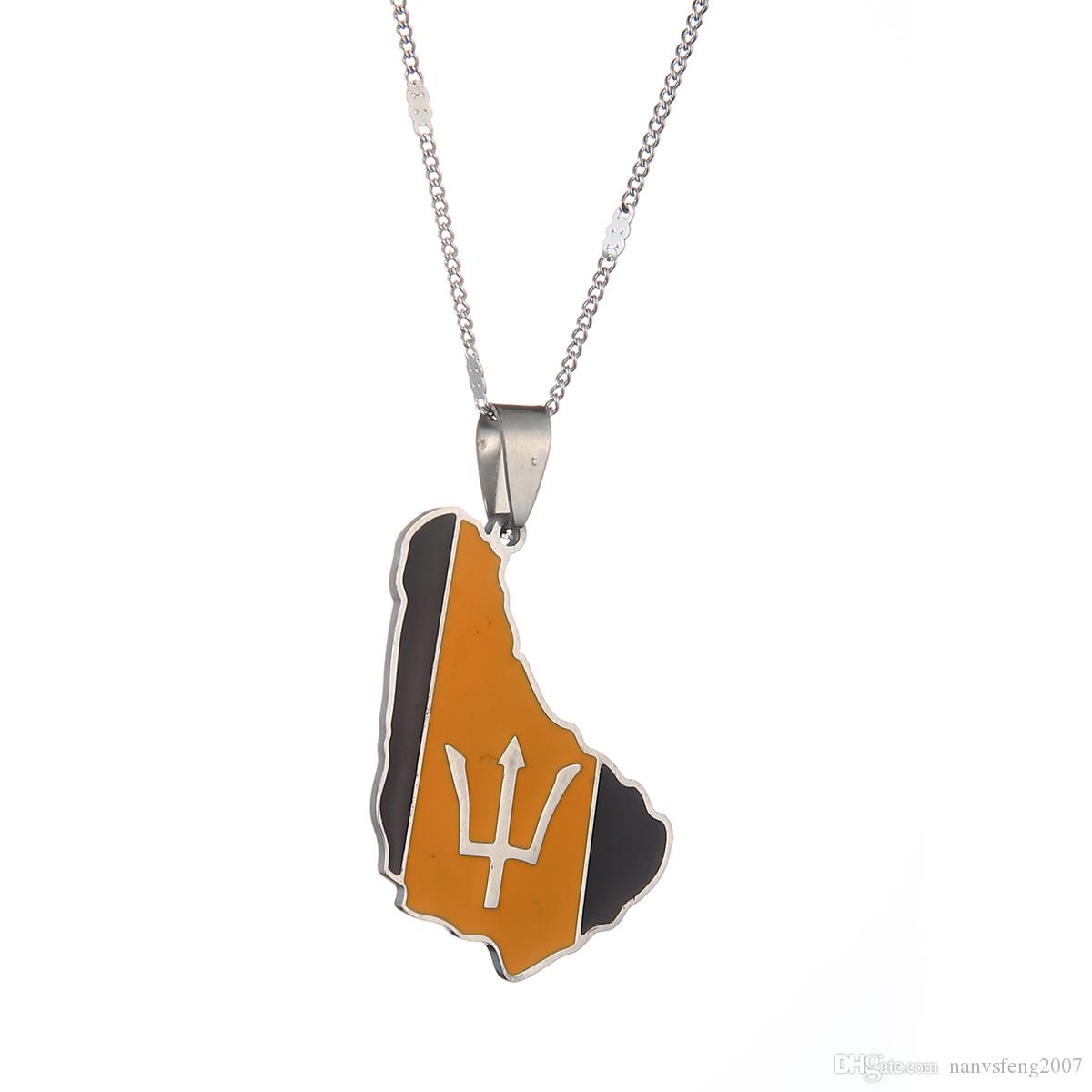 Small Size Barbados Island Map Flag Symbol Pendant Necklaces Gold Color Stainless Steel Barbados Maps Jewelry